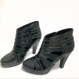Isola black striped zipper back ankle boots